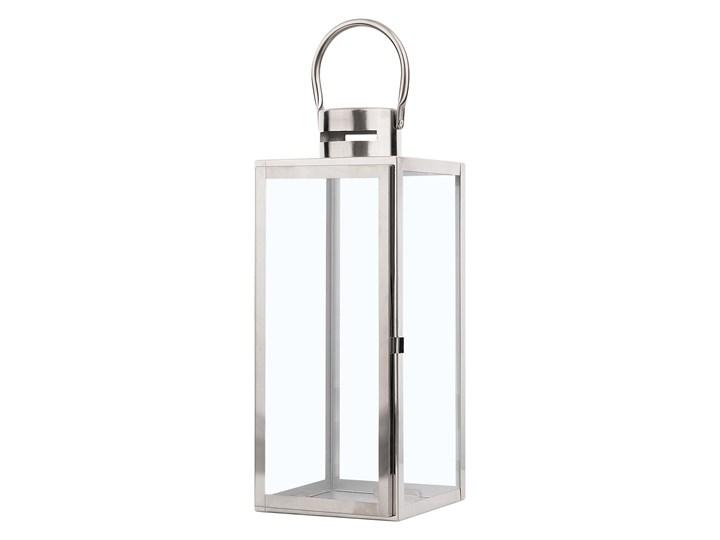 Lampion dekoracyjny srebrny metalowy 40 cm ozdobna latarnia na świecę Stal Kategoria Świeczniki i świece