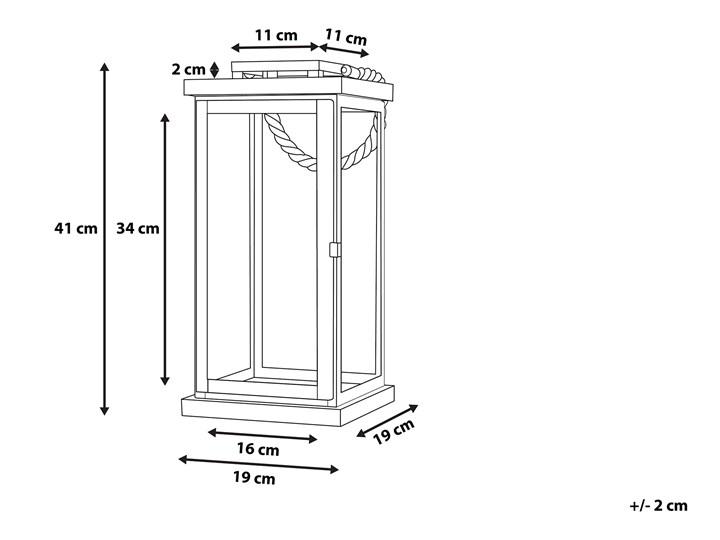 Lampion mosiężny ciemne drewno metalowy 41 cm boki ze szkła uchwyt nowoczesny Stal Szkło Kolor Brązowy