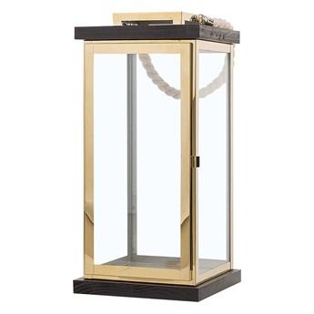 Lampion mosiężny ciemne drewno metalowy 41 cm boki ze szkła uchwyt nowoczesny
