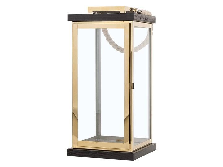 Lampion mosiężny ciemne drewno metalowy 41 cm boki ze szkła uchwyt nowoczesny Szkło Kolor Brązowy Stal Kategoria Świeczniki i świece