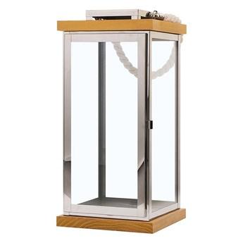 Lampion srebrny jasne drewno metalowy 41 cm boki ze szkła uchwyt nowoczesny