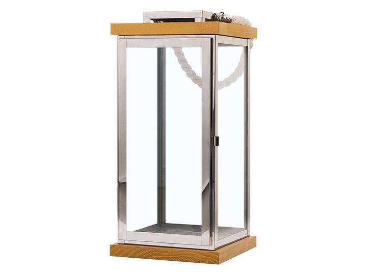 Lampion srebrny jasne drewno metalowy 41 cm boki ze szkła uchwyt nowoczesny Szkło Stal Kategoria Świeczniki i świece