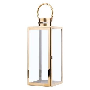 Lampion dekoracyjny mosiężny metalowy 40 cm ozdobna latarnia na świecę