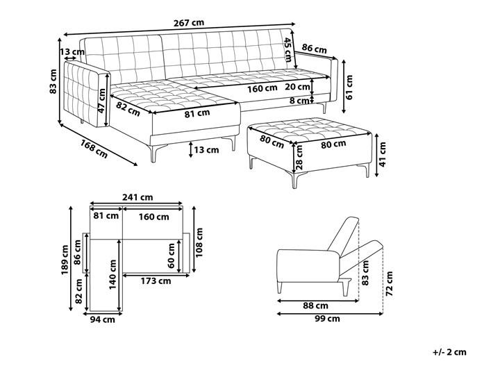 Narożnik rozkładany szary welurowy modułowy 4-osobowy z otomaną nowoczesna pikowana sofa do salonu z szezlongiem prawostronna Prawostronne Szerokość 267 cm Materiał obicia Tkanina Wysokość 83 cm Modułowe Liczba miejsc Czteroosobowy