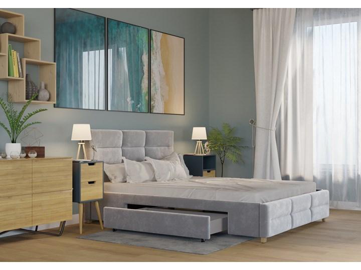 ŁÓŻKO 160x200 z 2 SZUFLADAMI - BERGAMO WELUR SZARE Kategoria Łóżka do sypialni