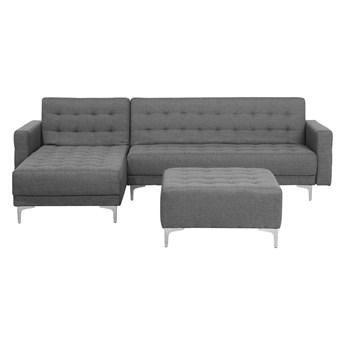 Narożnik rozkładany szary modułowy 4-osobowy nowoczesna pikowana sofa do salonu z szezlongiem i ottomaną prawostronna