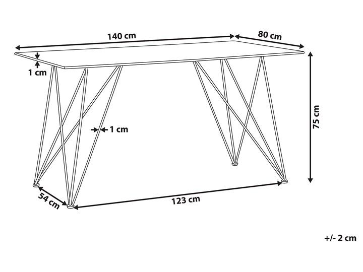Stół do jadalni efekt marmuru biały ze złotym blat szkło hartowane metalowe nogi 140 x 80 cm styl glam salon Długość 140 cm  Pomieszczenie Stoły do jadalni
