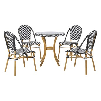 Zestaw ogrodowy stół i 4 krzesło czarno-biały technorattan aluminiowa rama sztaplowane krzesła okrągły blat