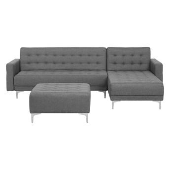 Narożnik rozkładany szary modułowy 4-osobowy nowoczesna pikowana sofa do salonu z szezlongiem i ottomaną lewostronna