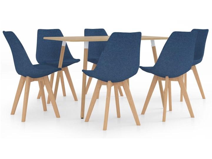 Niebieski 7-częściowy zestaw mebli jadalnianych – Avril Kategoria Stoły z krzesłami Kolor Granatowy