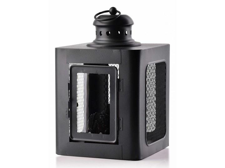 KANVAR Lampion KOMINEK LED 18x18xh28    cm black Podgrzewacz Drewno Kolor Czarny Metal Kategoria Świeczniki i świece