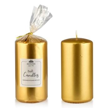 Świeca parafinowa 7x14cm metalik złoty