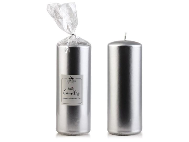 Świeca parafinowa 7x19cm metalik srebrny