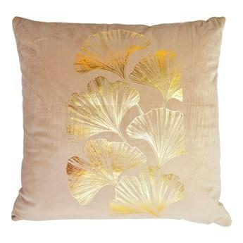 Poduszka beżowa ze złotym liściem miłorzębu