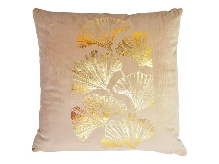 Poduszka beżowa ze złotym liściem miłorzębu Poduszka dekoracyjna 45x45 cm Kwadratowe Pomieszczenie Sypialnia Poszewka dekoracyjna Kolor Beżowy