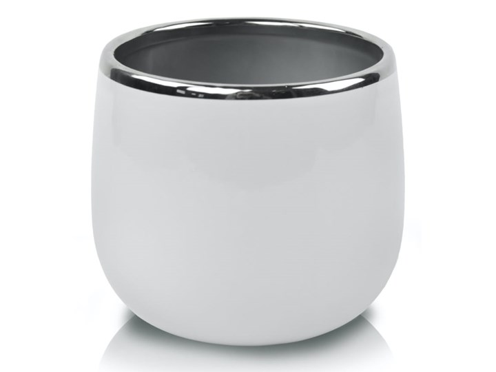 Doniczka okrągła biała Metal Ceramika Doniczka na kwiaty Tworzywo sztuczne Kolor Biały
