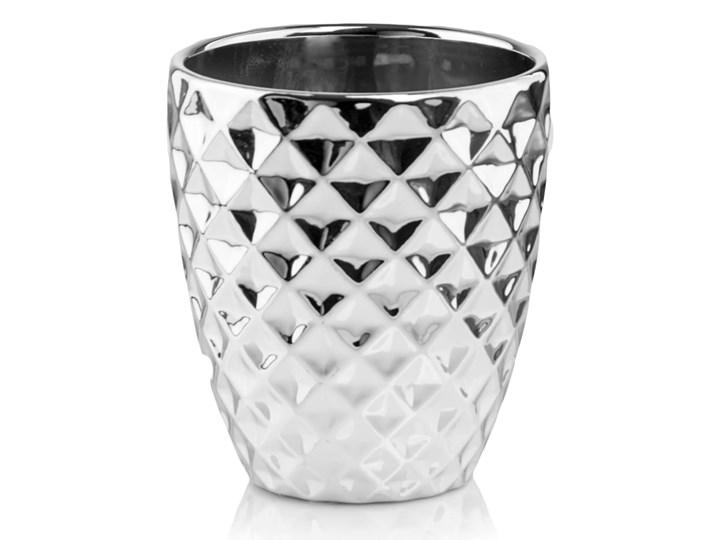 Doniczka srebrna okrągła tłoczona Doniczka na kwiaty Ceramika Metal Kolor Srebrny