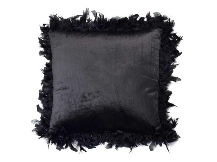 LORETA BLACK Poduszka 44x44cm pióra Okrągłe Poliester 44x44 cm Poszewka dekoracyjna Welur Poduszka dekoracyjna Aksamit Kolor Czarny