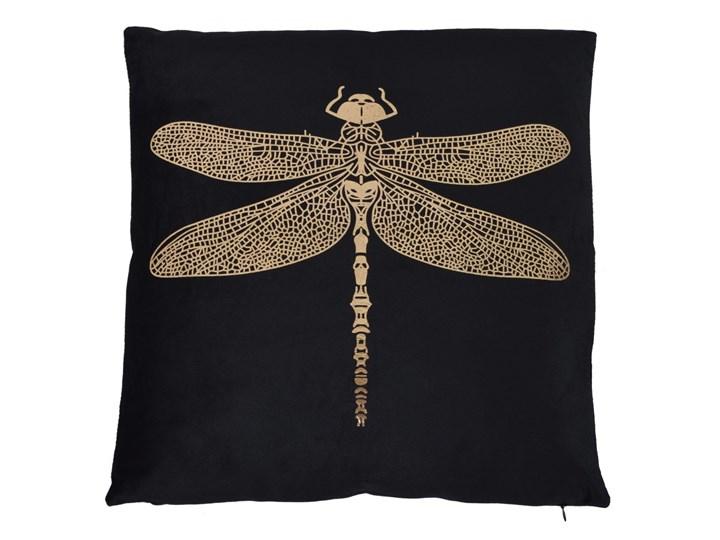 Poduszka czarna ze złotą ważką Poduszka dekoracyjna Kwadratowe 45x45 cm Welur Kolor Czarny