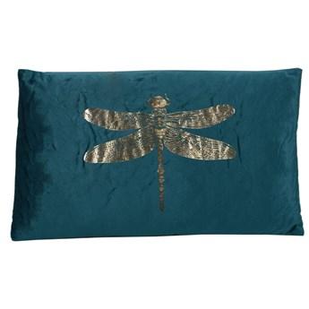 Poduszka zielona prostokątna ze złotą ważką