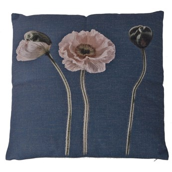 Poduszka z kwiatami granatowa 45x45