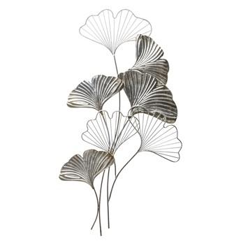 Dekoracja ścienna liść srebrny metal