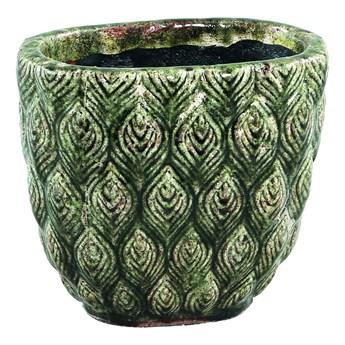 Doniczka owalna ceramiczna zielona szkliwiona S