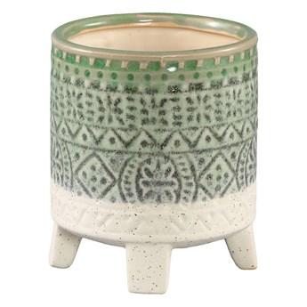 Doniczka ceramiczna szkliwiona Kaila zielona okrągła S