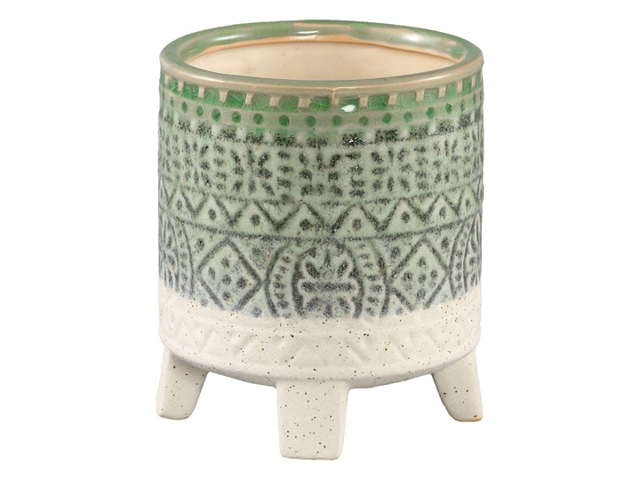 Doniczka ceramiczna szkliwiona Kaila zielona okrągła S Doniczka na kwiaty Kolor Zielony Ceramika Kategoria Doniczki i kwietniki