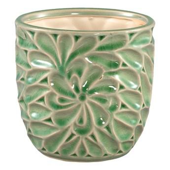 Doniczka ceramiczna szkliwiona Suzu Green okrągła M