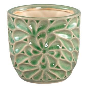 Doniczka ceramiczna zielona szkliwiona S