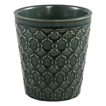 Doniczka zielona ceramiczna szkliwiona okrągła S