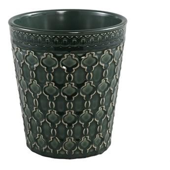 Doniczka zielona ceramiczna szkliwiona okrągła M