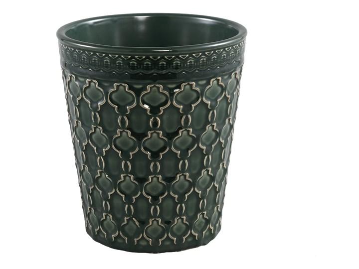 Doniczka zielona ceramiczna szkliwiona okrągła L Ceramika Kategoria Doniczki i kwietniki Doniczka na kwiaty Kolor Czarny