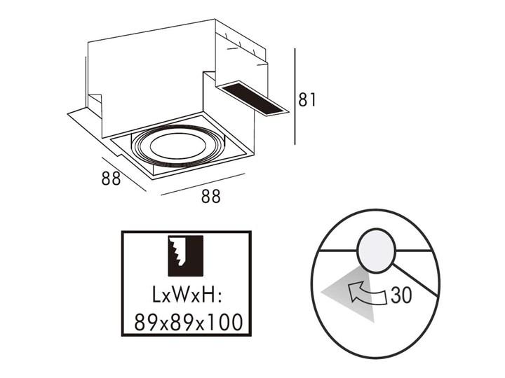 Wpust LAMPA sufitowa ONEON 94361-BK Zumaline metalowa OPRAWA kwadratowa do zabudowy czarny
