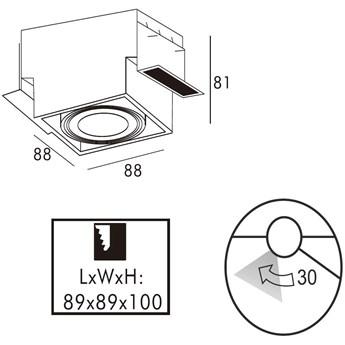 Podtynkowa LAMPA sufitowa ONEON 94361-WH Zumaline kwadratowa OPRAWA metalowy WPUST do zabudowy biały