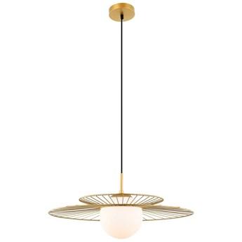 LAMPA wisząca SARAH MDM-4000/1 GD Italux druciana OPRAWA szklana kula ball ZWIS loft kapelusz złoty biały