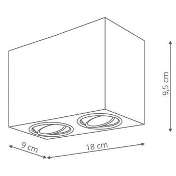 Plafon LAMPA sufitowa LYON 2 LP-5881/2SM BK Light prestige prostokątna OPRAWA metalowy downlight regulowany czarny