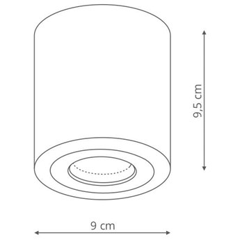 LAMPA sufitowa FARO LP-6510/1SM XL BK Light Prestige łazienkowa OPRAWA metalowa tuba downlight IP65 czarna