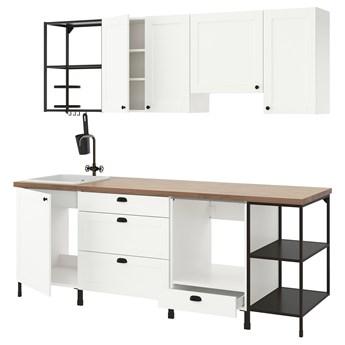IKEA ENHET Kuchnia, antracyt/biały rama, 243x63.5x222 cm