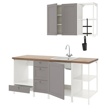 IKEA ENHET Kuchnia, biały/szary rama, 203x63.5x222 cm