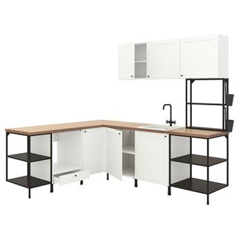IKEA ENHET Kuchnia narożna, antracyt/biały rama, Wysokość szafka wisząca: 135 cm