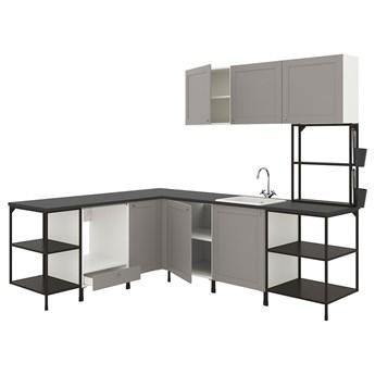 IKEA ENHET Kuchnia narożna, antracyt/szary rama, Wysokość szafka wisząca: 135 cm