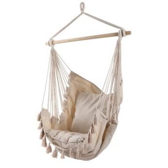 Krzesło brazylijskie wiszące z poduszkami DUKA MOLN 135x90 cm beżowe