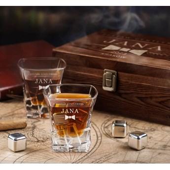 Zestaw kamienie kostki do whisky ze szklankami z grawerem dla