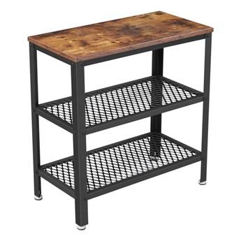 Bettso Wysoki stolik w stylu industrialnym z półkami / Rustic brown