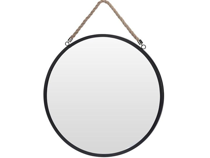 Okrągłe lustro Olmi na sznurku - czarne Ścienne Pomieszczenie Salon Lustro z ramą Kolor Czarny