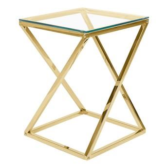 Stolik złoty szklany blat metalowa połyskująca rama 40 x 40 x 55 cm glamour design