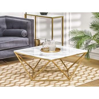 Stolik kawowy biały blat z efektem marmuru złota metalowa rama kwadratowy 80 x 80 cm do salonu styl nowoczesny glam