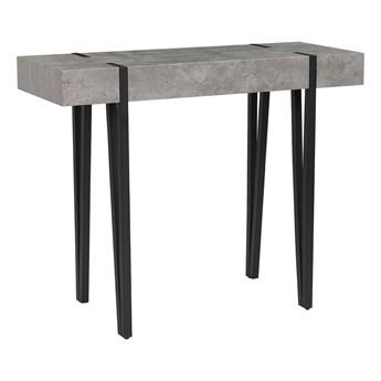 Konsola szara imitacja betonu czarne metalowe nogi stolik styl skandynawski minimalistyczny